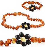 Premium Grade Amber Teething Necklace WITH Bracelet - Baltic Amber Teething Necklace, 3 Sizes - Relief for Baby, Toddler & Child - Teether with Unpolished Cognac Flower Amber Beads (10-11')