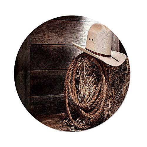 nd Tablecloth,Western,American West Rodeo Hat Traditional Ranching Robe on Wooden Ground Folk Art Photo Decorative,Brown Beige,Dining Room Kitchen Picnic Table Cloth Cover Outdo ()