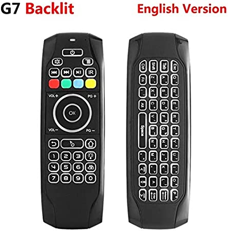 Calvas G7 2.4G Backlit Wireless Air Mouse with Keyboard 6-Axis Gyro Smart Remote Control For X96 tx3 mini A95X H96 pro Android TV Box Color: English no backlit