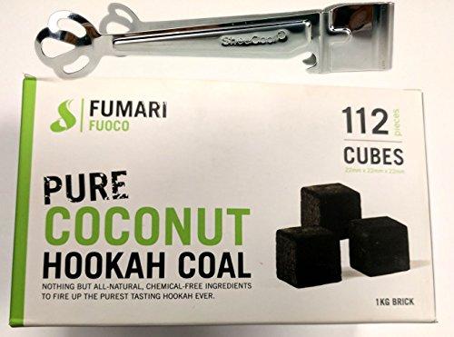 FUOCO 112 LARGE CUBE COCONUT HOOKAH COAL BY FUMARI Shisha Natural Charcoal With Bonus Starbuzz Tongs And Foil Poker by Fumari