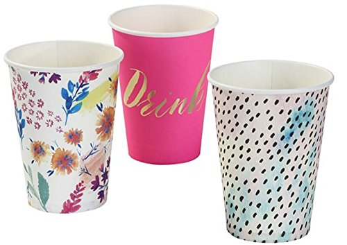 Floral 2 Cup - Talking Tables 2 Pack Fluorescent Floral Large Paper Cups (Set of 24)