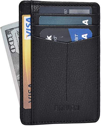 Front Pocket Slim Wallets for Men with RFID - Genuine Leather Handmade Minimalist Credit Card Holder Gift Box (Black Milled Nappa Curve) ()