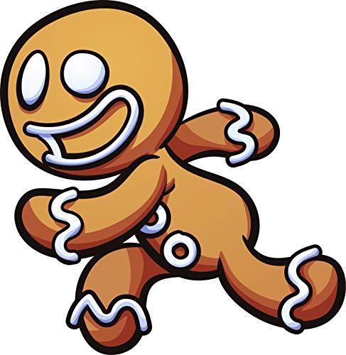 (Cute Silly Holiday Gingerbread Man Cartoon Emoji Vinyl Sticker (4