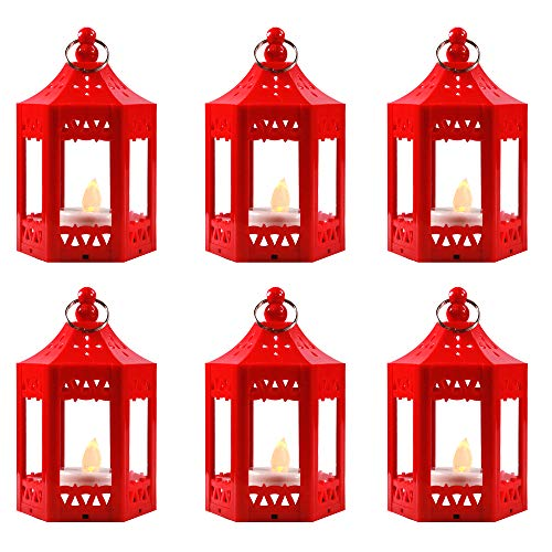 6pc Mini Red Candle Lanterns with Flickering LED Tea Light Candle, Batteries Included]()