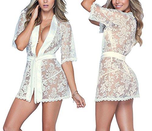 JuicyRose Lace Kimono Robe Sexy Lingerie Nightgown Satin Transparent Nightwear (US M=Tag L, (Kimono Lace Robe)