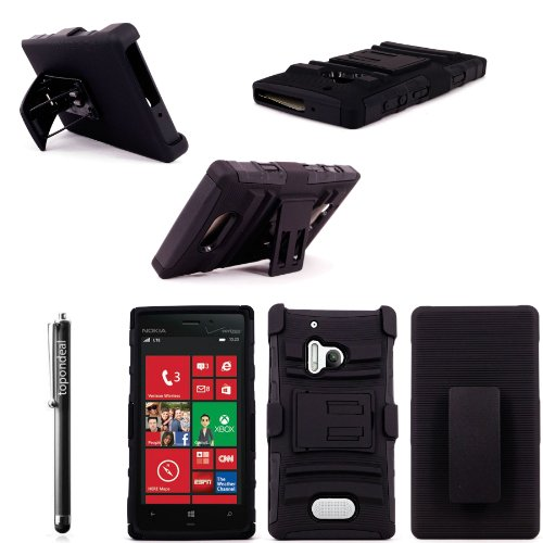 For Nokia Lumia 928 TopOnDeal TM Black and Black Hybrid 3PC Kickstand Belt Clip Holster Case Cover+Free Stylus Touch Pen (Only For Nokia Lumia 928) (Black and Black)