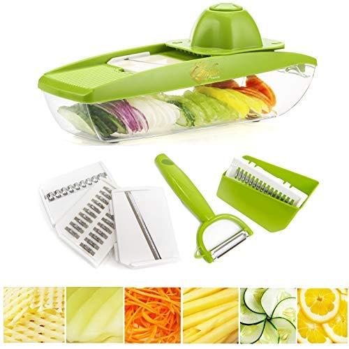 Mandoline Slicer Vegetable Potato Peeler - Vegetable Slicer Mandoline Julienne Grater - Vegetable Cutter for Fruits and Vegetables - 5 Blade Onion Slicer Veggie Slicer Simple Zoodle Maker