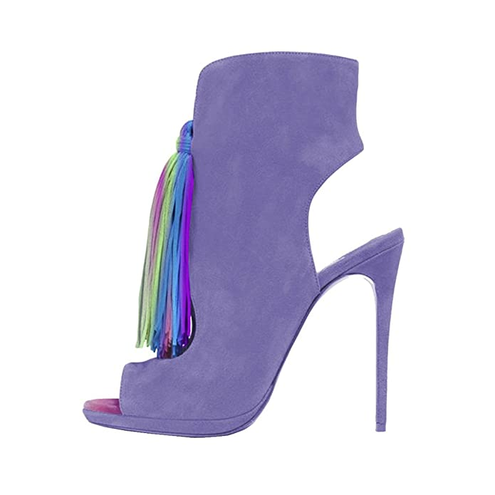 d3df148f243 FSJ Women Awesome Peep Toe Pumps Slingback Stilettos High Heel Shoes with  Fringes Size 7 Purple  Amazon.co.uk  Shoes   Bags