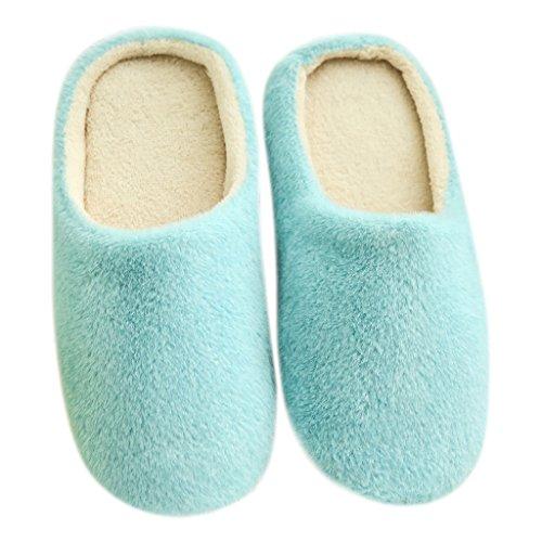 Couleur Peluche Femmes Unie Chaussures Bleu Pantoufles D'hiver Indoor Antidérapant Hommes 38 Landum 39 Chambre Maison Violet HqAvw