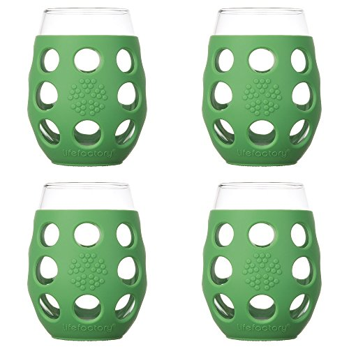 (Lifefactory 11-Ounce BPA-Free Indoor/Outdoor Wine Glass with Protective Silicone Sleeve, 4-pack, Grass Green)