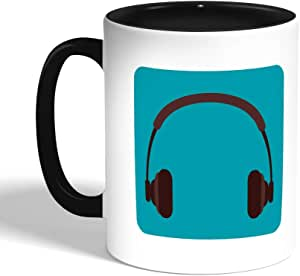 Printed Coffee Mug, Black, Headphones (Ceramic)