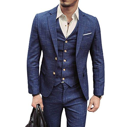 Men Tweed 3 Piece Suit, Classic Vintage Blue Plaid Check Grid Tweed Herringbone Wool Blend Men Suit 3 Pieces Striped Blazer (M=US S)