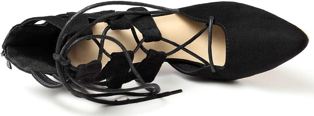 Frelo Women Fashion Faux Suede Pointed Toe Cross Body Strap Stiletto Sandals