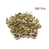 Sydien 16mm/0.63 Inch Flower-Pattern Head Nail Upholstery Tack Home Furniture Decor Nail 100 Pcs (Gold Tone)