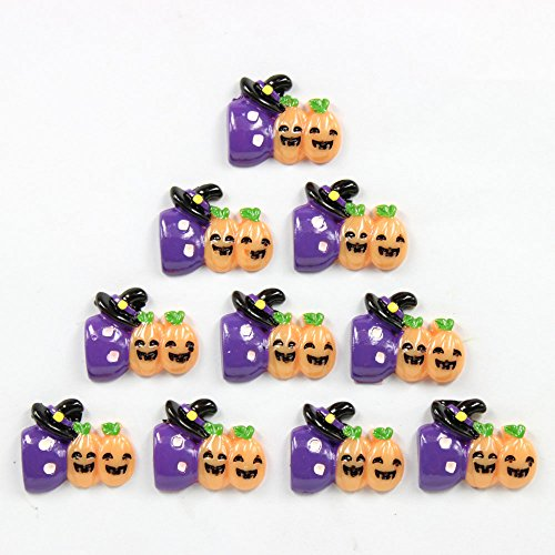 Bulk 10pcs Cute Boo Pumpkin Halloween Party Flatback Resin Scrapbooking Cabochons DIY Hair Bow Center Decoration Embellishments -
