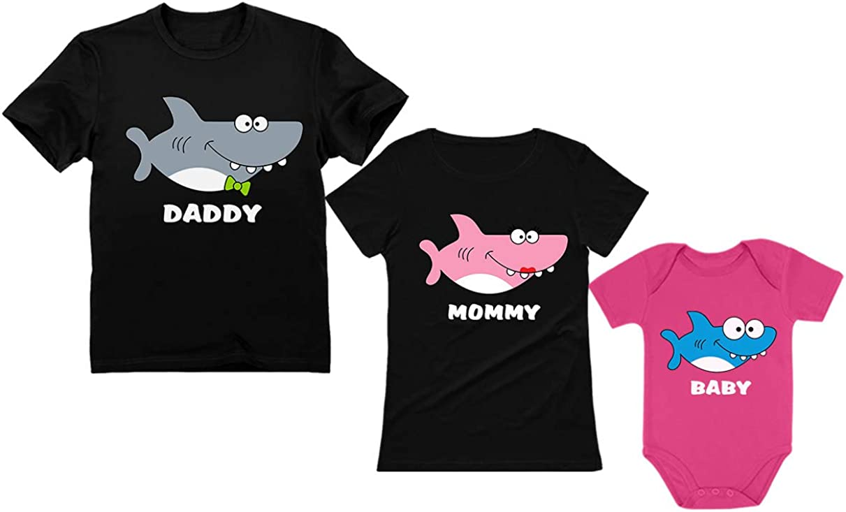 Shark Family Set for Daddy Mommy and Baby Matching Father Mother Infant Outfits