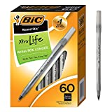 BIC Round Stic Ball Pens Stick, Black, Medium Point, Box of 60