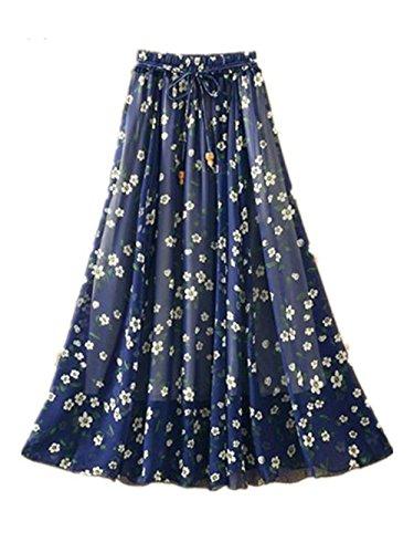 Haililais Femme Jupe En T Lache Jupe Mousseline Fashion Jupe Mi Longue Floral Beau Jupe Plisse Ethnique Jupe De Plage Casual Jupe Blue2