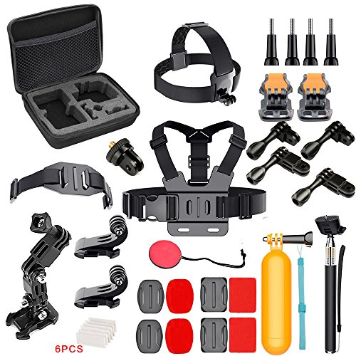 Action Camera Accessories Kit GoPro HERO6/5/4/GoPro HERO5 Session/AKASO/CROSSTOUR/APEMAN/CAMPARK/YI/XIAOMI/VIVITAR/EKEN, Action Camera Mount 4K Sports Camera Attachments