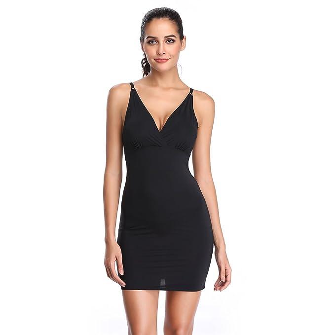 Full Slips for Women Under Dresses Shaping Control Slip Body Shaper Seamless V Neck Sleepwear (