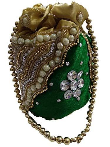 89af9e22928 Sheric Green Silk Beaded Potli Bag for Women(SH03)  Amazon.in  Shoes    Handbags