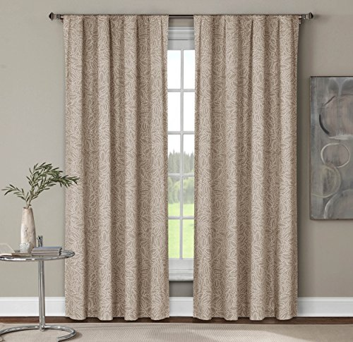 Window Elements Leila Printed Cotton Extra Wide 104 x 84 in. Rod Pocket Curtain Panel Pair, Linen
