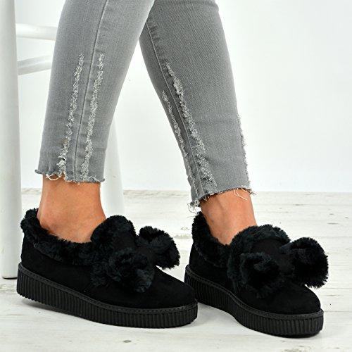 Cucu Fashion New Womens Ladies Fur Line Bow Trainers Slip On Low Heel Sneakers Plimsoll Shoes Black m8XCB0lfOv