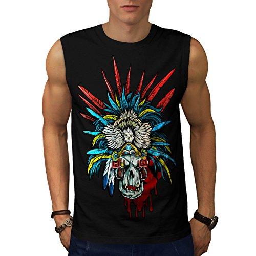 [Skull Indian Warrior Costume Men NEW M Sleeveless T-shirt | Wellcoda] (Mayan Warrior Costumes)