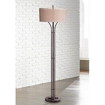 Tristan Modern Floor Lamp Bronze Metal Sheer Brown And