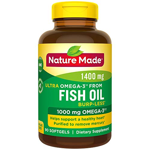Nature Made Burp-Less Ultra Omega-3†† from Fish Oil 1400 mg Softgels, 90 Count (Packaging May Vary)