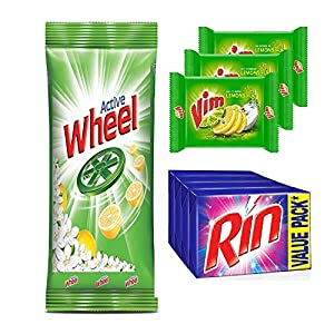 wheel detergent powder 1 kg and Rin soap 250 gm (Pack of 4) & Vim soap 200 gm (Pack of 3)
