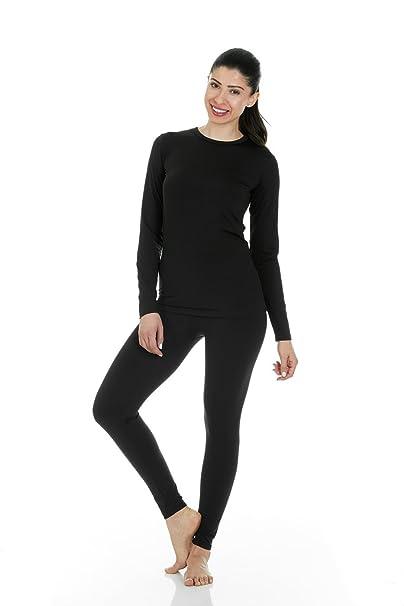 Thermajane mujeres Ropa interior térmica suave con negro medio paño grueso y suave