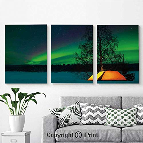 Modern Gallery Wrapped Canvas Print Camping Tent under Magnetic Field Nature Picture 3 panels Pictures on Canvas Wall Art Ready to Hang for Living Room Kitchen Home Decor,12
