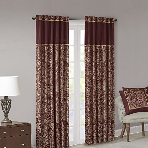 Madison Park Aubrey Jacquard Room-Darkening Window Curtain 2 Blackout Panel Pair for Bedroom and Dormitory, 50x95, Burgundy