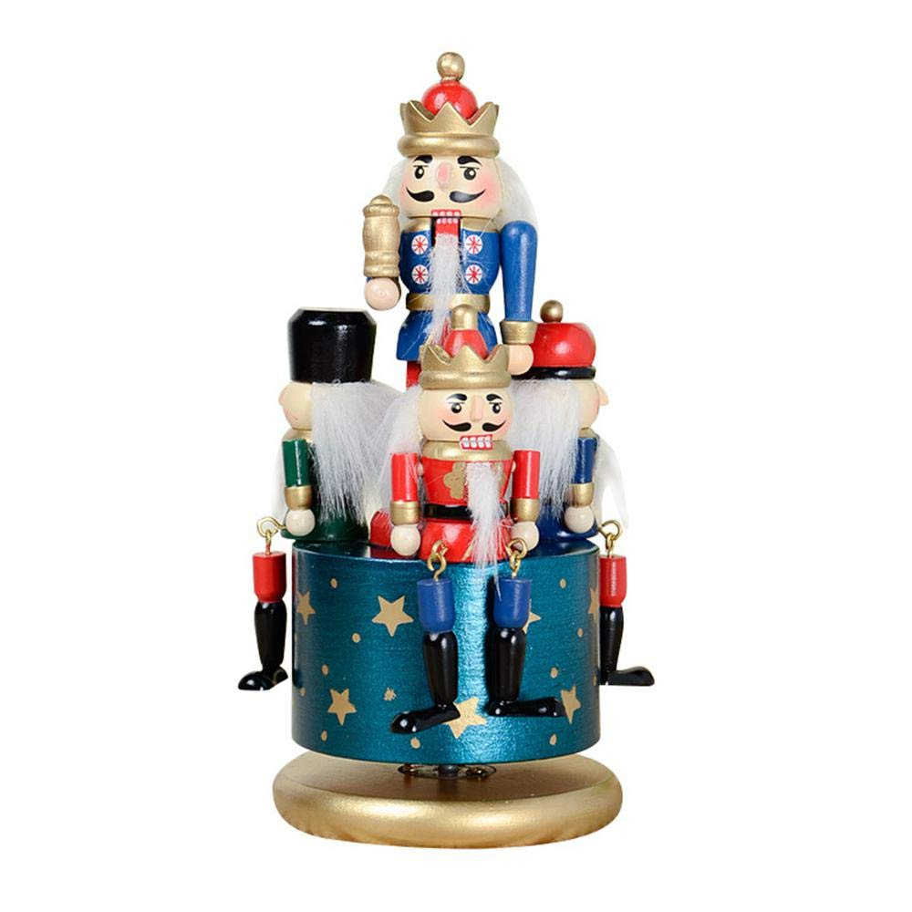 KOBWA Classic schiaccianoci di Legno Carillon con Re e Soldati Giocattoli Decorazione per la casa, Decorazioni Festive Blue