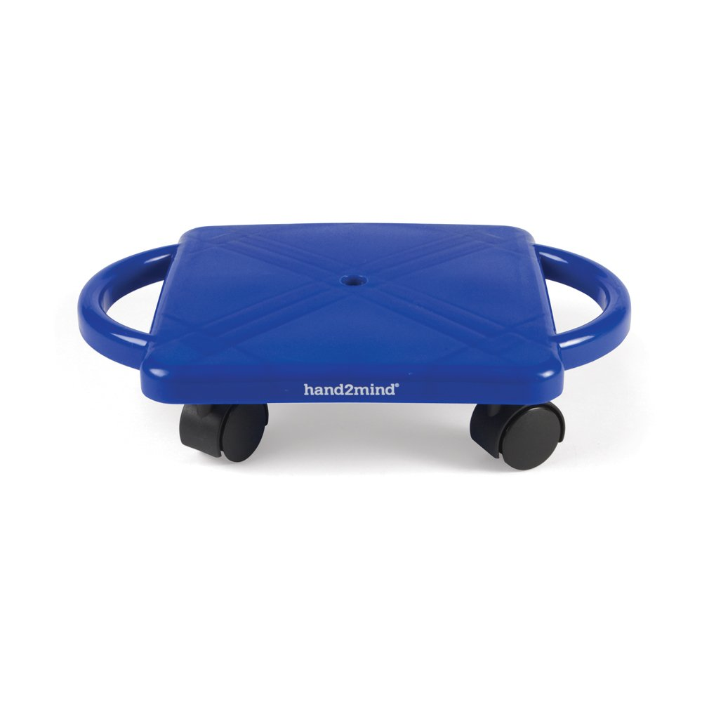 hand2mind Plastic Scooter Board with Safety Handles for Physical Education Class or Home Use, Blue by hand2mind