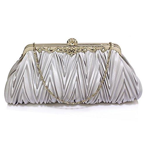 1 Clutch Ladies Designer Diamante Bag Silver Bag Evening Crystal Women Newlook Wedding Pleated Purse Design Handbag 6dqvHwta