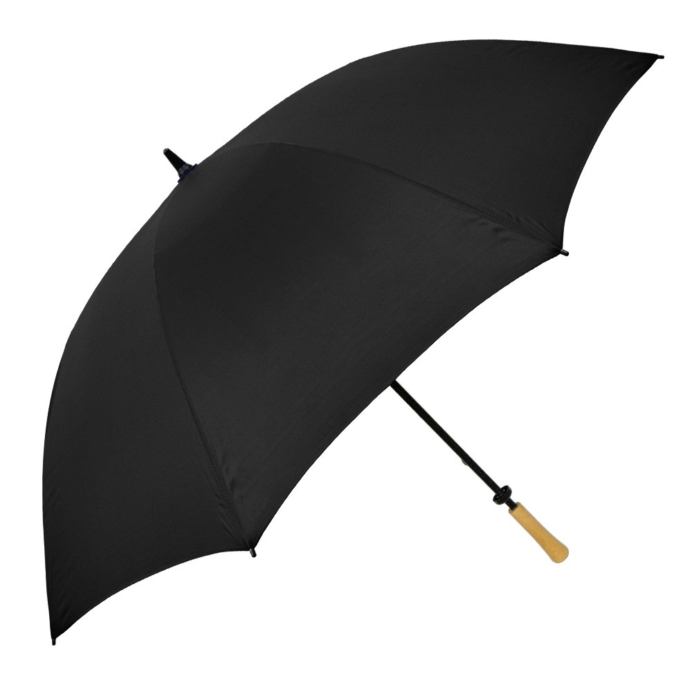 StrombergBrand Large Golf Windproof Umbrella 62'' Arc Size for Men & Women - Rain Protection Outdoor Umbrellas with  Wooden Handle - Manual Opening, Rustproof, Lightning Resistant, Black by StrombergBrand