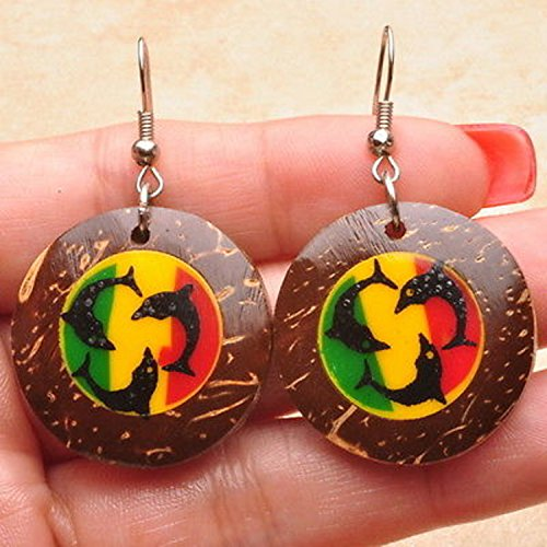 Dolphins Round Ring (round shell dangle earrings with painted dolphins)