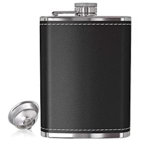 Pocket Liquor Hip Flask 8 Oz with Funnel – 100% Leak Proof, 18/8 Stainless Steel Flasks with Black or Brown Leather Cover for Discrete Shot Drinking of Spirits and Alcoholic Drink