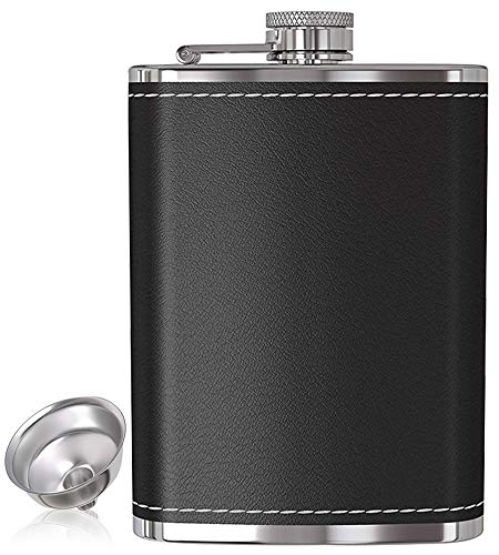 Flask for Liquor and Funnel - 8 Oz Leak Proof 18/8 Stainless Steel Pocket Hip Flask with Black Leather Cover for Discrete Shot Drinking of Alcohol, Whiskey, Rum and Vodka | Gift for Men -