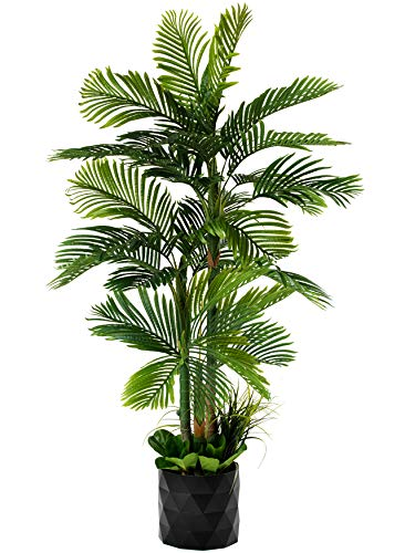 """GARDEN COUTURE Deluxe 78"""" Golden Cane Palm Silk Artificial Tree + Premium Fiddle Leaf Foliage in 8"""" Base + 12"""" Plant Pot Skirt 1"""