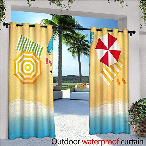 cobeDecor Beach Patio Curtains Beach Waves with Umbrella Towels and Surfing Board Swimming Themed Summer Season Outdoor Curtain for Patio,Outdoor Patio Curtains W108 x L84 Multicolor ()