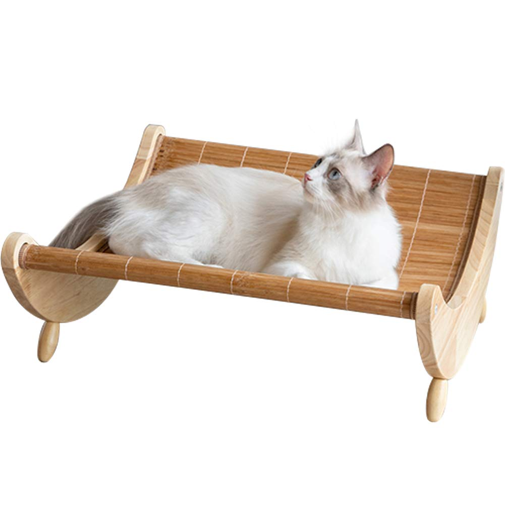 MOCOHANA Luxury Lounger for Cats and Small Dogs Cat Wooden Bed Cat Hammock with Stand Cooling Pet Bed for Wooden Cat Furniture