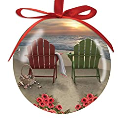 Beach Themed Christmas Ornaments Adirondack Chairs and Hibiscus on the Beach, Basket of Shells High Gloss Resin Christmas Ornament beach themed christmas ornaments