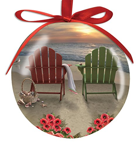 adirondack chairs and hibiscus on the beach gloss resin christmas ornament beachfront decor - Decorating Adirondack Chairs For Christmas