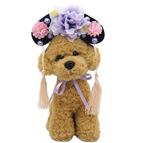 Pet Dog Hat Oriental Chinese Princess Headdress Cute Cat Dog Headband Purple S]()