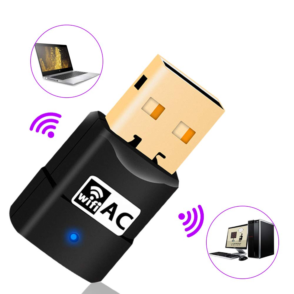 USB WiFi Adapter WiFi Dongle Adapter for PC//Desktop//Laptop//Mac,Support Windows,Mac OS 10.6-10.13 Dual Band 600Mbps Wireless Adapter Plug and Play