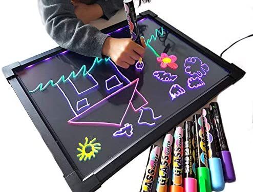Sensory LED Message Writing Board Illuminated Drawing Painting Boards Kids Erasable Flashing Colorful Doodle Acrylic Tablet Educational Toys Gifts for Boys Girls