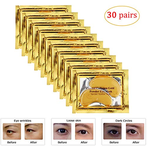 Joynest 30 Pairs Crystal Eye Mask Under Eye Mask 24K Gold Gel Collagen Eye Pad for Moisturizing & Reducing Dark Circles Puffiness Wrinkles Under Eye Patch for Women (Gold) (Purederm Collagen Eye)